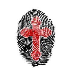 fingerprint with a cross vector image vector image