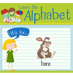 Flashcard letter H is for hare vector image vector image