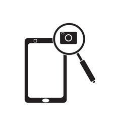 Flat icon in black and white mobile phone camera vector