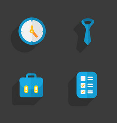 Four flat education icons set on dark background vector