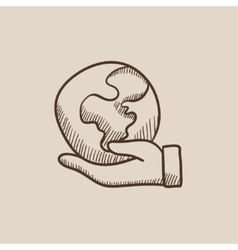 Hand holding the earth sketch icon vector