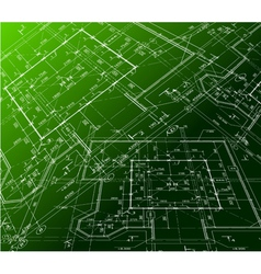 House plan on green background blueprint vector image vector image