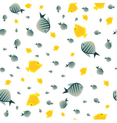 pattern with cute fish in white color vector image
