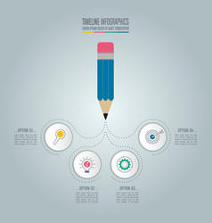 Pencil with timeline infographic design vector