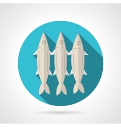 Sardines flat round icon vector image vector image