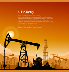 Silhouette pump jack at sunset and text vector