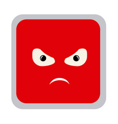 Square colorful shape emoticon angry expression vector