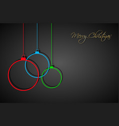 Three colorful christmas balls with strings vector