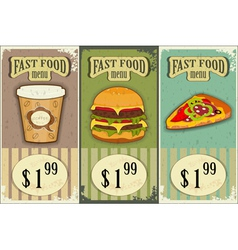 vintage fast food labels vector image vector image