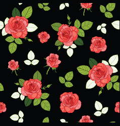 Vintage red roses and leaves on black vector