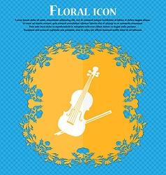 Violin icon Floral flat design on a blue abstract vector image vector image