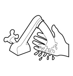 Wash hand icon outline vector