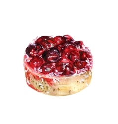 Watercolor cherry cake vector image vector image