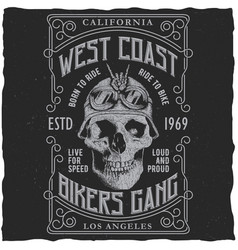 West coast bikers gang poster vector