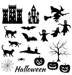 halloween silhouettes set vector image