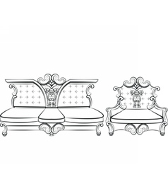 Royal sofa and armchair set vector