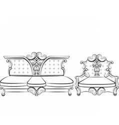 Royal Sofa and Armchair set vector image
