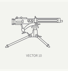 Line flat plain military icon - machine gun vector