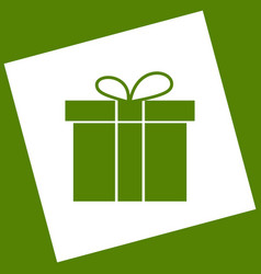 gift box sign  white icon obtained as a vector image