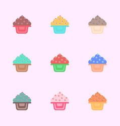 Cake collction cupcake set icons vector