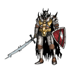 Cartoon image of warrior with sword vector