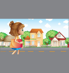 A girl walking across the neighborhood vector