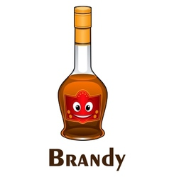 Cartoon smiling brandy bottle character vector