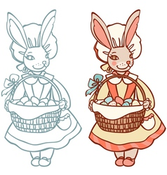 Bunny with a basket of easter eggs vector