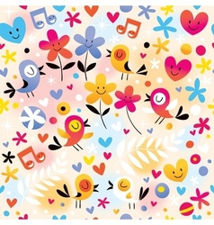 Singing birds hearts and flowers pattern vector