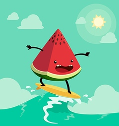Surfing watermelon vector