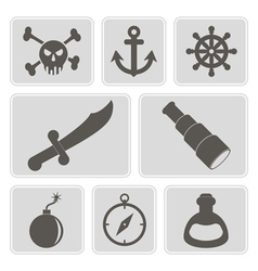 Monochrome icons with pirate stuff vector