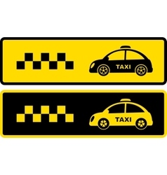 Black and yellow retro taxi icons vector