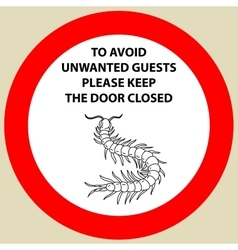 Sticker with warning sign insect icon centipede vector