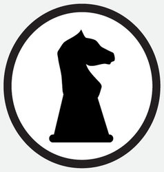 Chess horse icon monochrome black white vector image