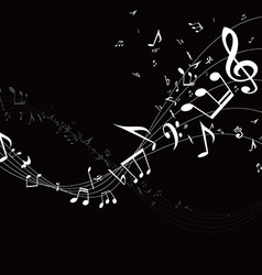Music stave wave with notes vector
