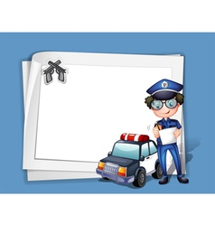 A blank stationery with a policeman vector image vector image
