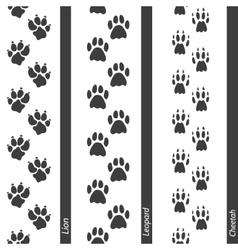 Animal footprints seamless border set vector