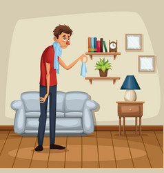 background living room home with sickness people vector image vector image