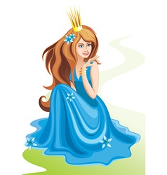 Beautiful princess sitting vector