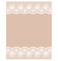 Beige background with two white lacy flower border vector image vector image