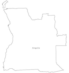Black White Angola Outline Map vector image vector image