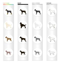 Doberman dog poodle boxer breed pit bull dog vector