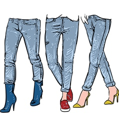 Drawing womens fashionable jeans sketch vector