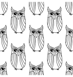 Eagle owls seamless pattern background vector