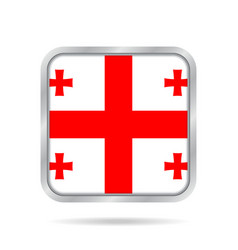 Flag of georgia shiny metallic gray square button vector
