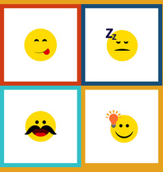 Flat icon emoji set of cheerful have an good vector