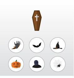 Flat icon festival set of witch cap casket gourd vector