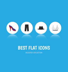 Flat icon garment set of heeled shoe pants vector
