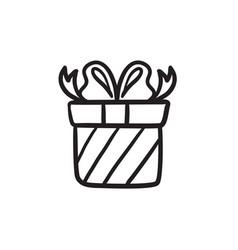 Gift box sketch icon vector