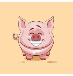 Isolated emoji character cartoon pig with a huge vector